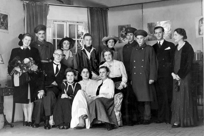 (Standing:) Asst. Producer (Muriel Ferris), Corporal Atkins, Daphne Kidlington, Christopher Brent, Miriam Leigh, Soldiers (John Brown &amp Chris Smith), Carl Sanderson, Producer (Miss L Angell) (Seated - middle:) John Preston J.P., Miss Myrtle (Seated - front:) Mrs sanderson, Molly Preston, Fraulein Schroeder
